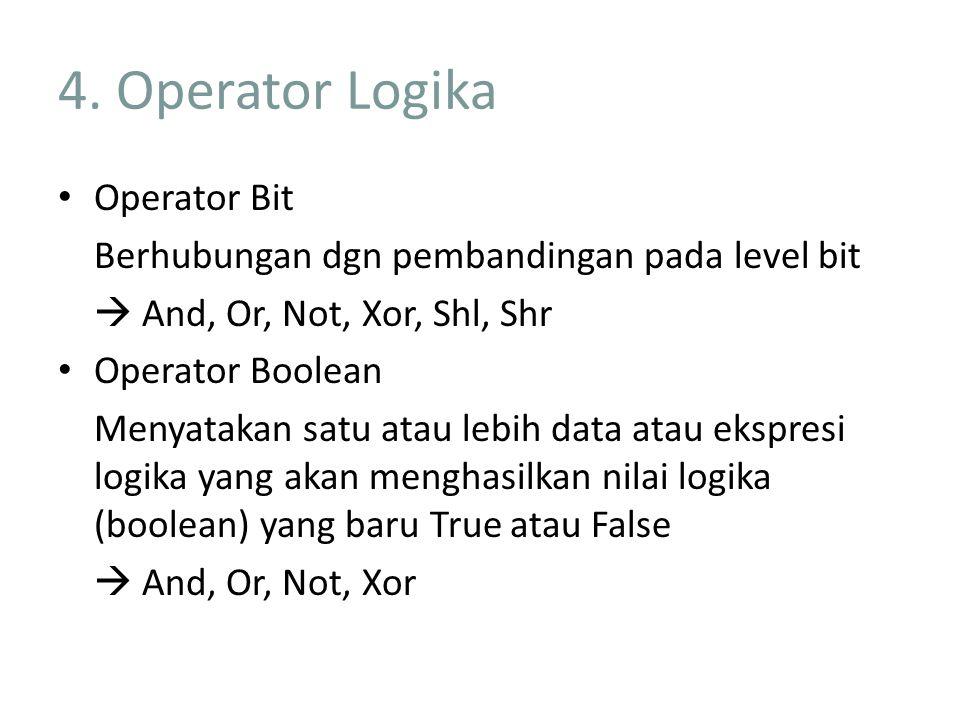 4. Operator Logika Operator Bit