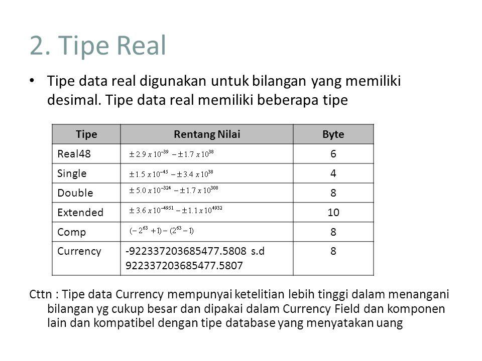 2. Tipe Real Tipe data real digunakan untuk bilangan yang memiliki desimal. Tipe data real memiliki beberapa tipe.