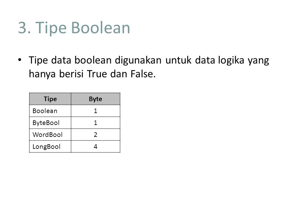 3. Tipe Boolean Tipe data boolean digunakan untuk data logika yang hanya berisi True dan False. Tipe.