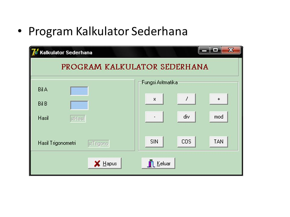 Program Kalkulator Sederhana