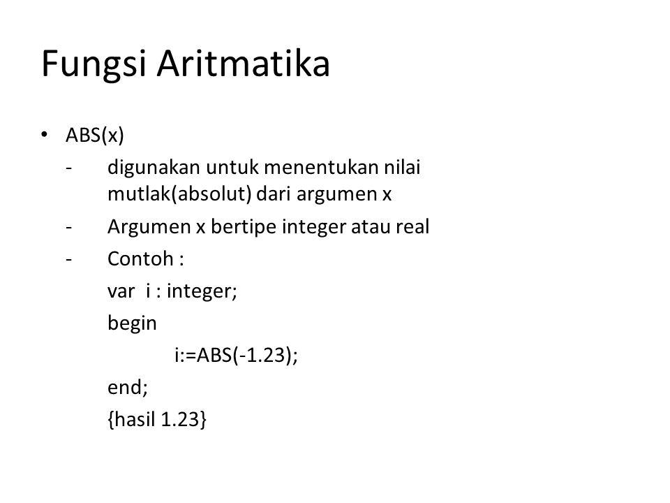 Fungsi Aritmatika ABS(x)