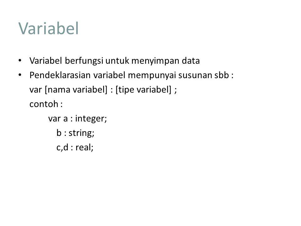 Variabel Variabel berfungsi untuk menyimpan data