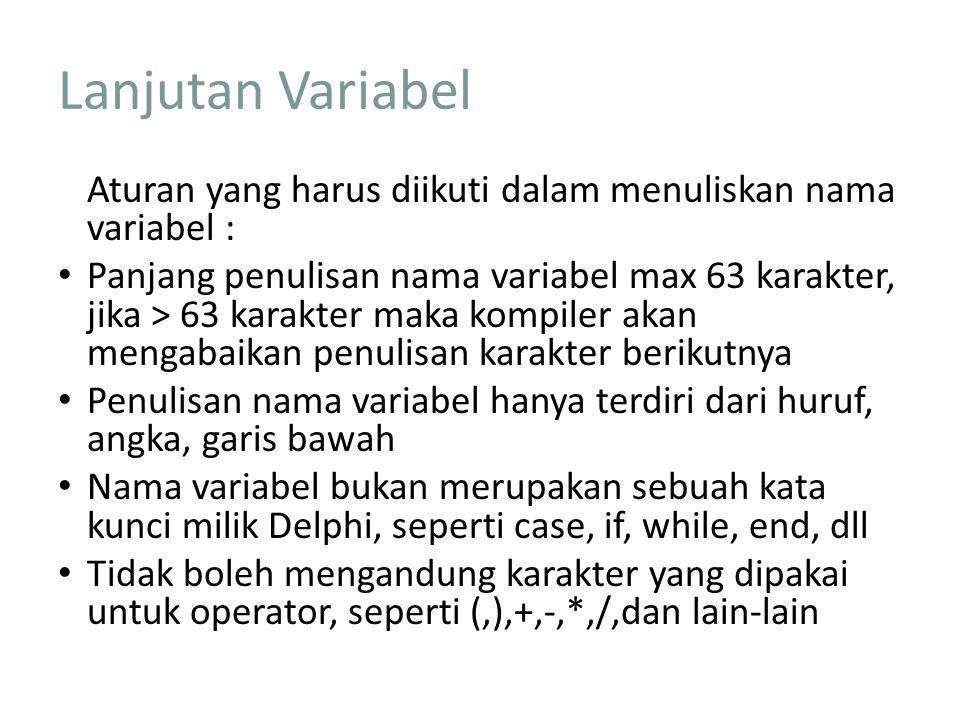 Lanjutan Variabel Aturan yang harus diikuti dalam menuliskan nama variabel :