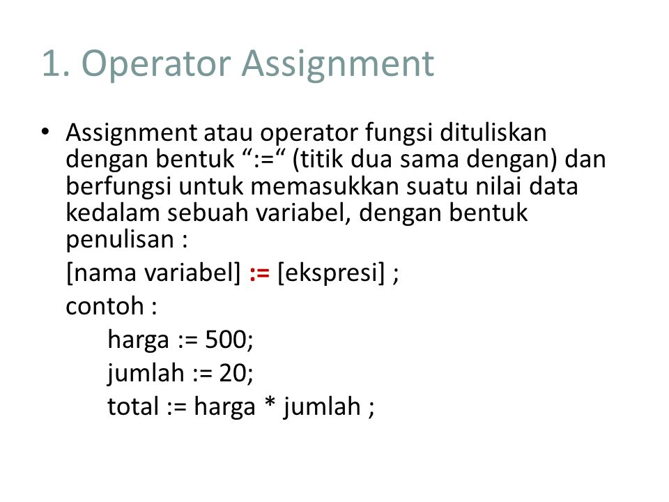 1. Operator Assignment