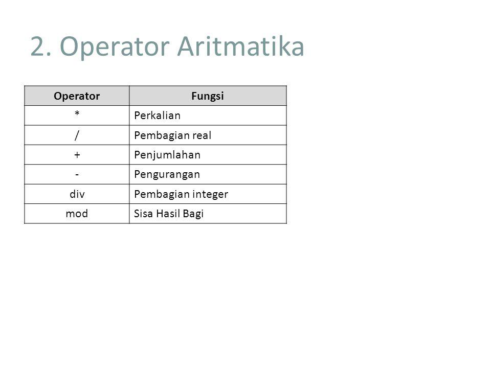 2. Operator Aritmatika Operator Fungsi * Perkalian / Pembagian real +