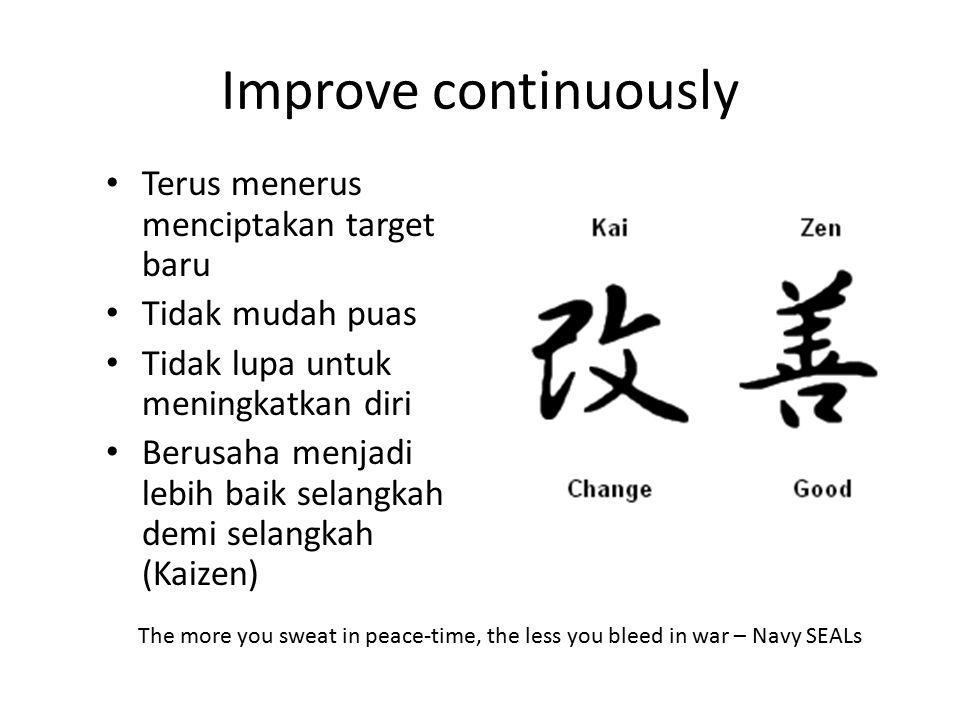 Improve continuously Terus menerus menciptakan target baru
