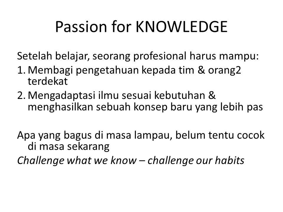 Passion for KNOWLEDGE Setelah belajar, seorang profesional harus mampu: Membagi pengetahuan kepada tim & orang2 terdekat.