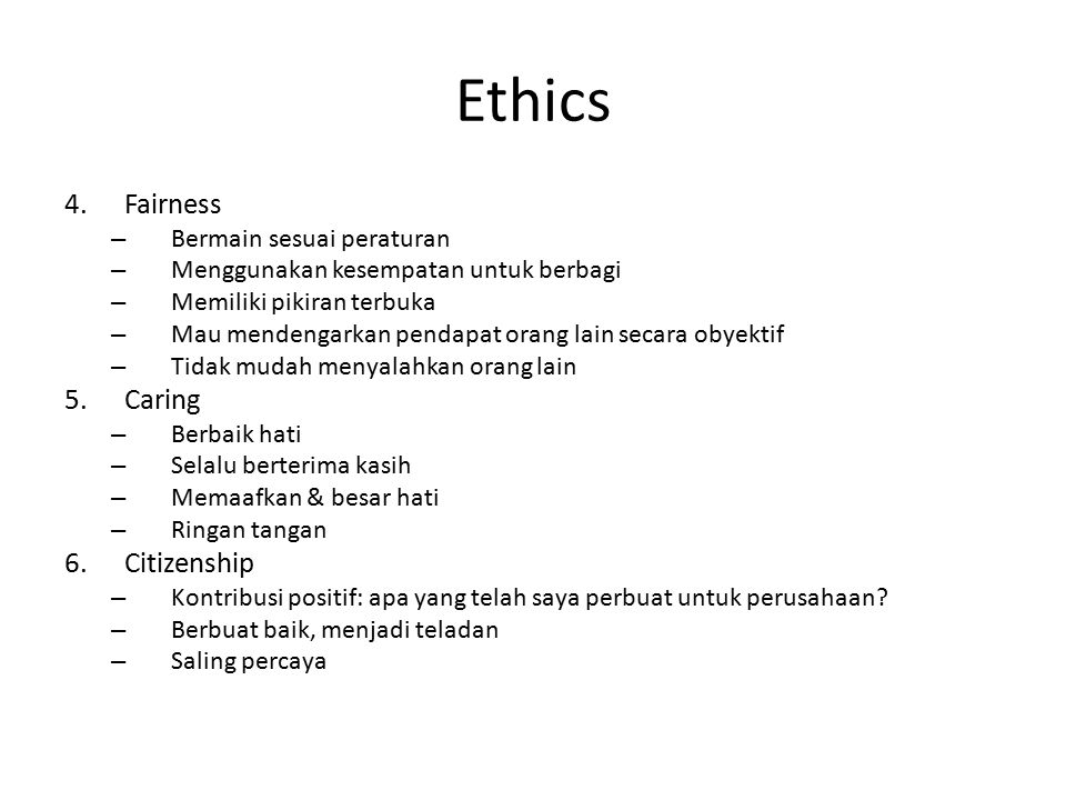 Ethics Fairness Caring Citizenship Bermain sesuai peraturan