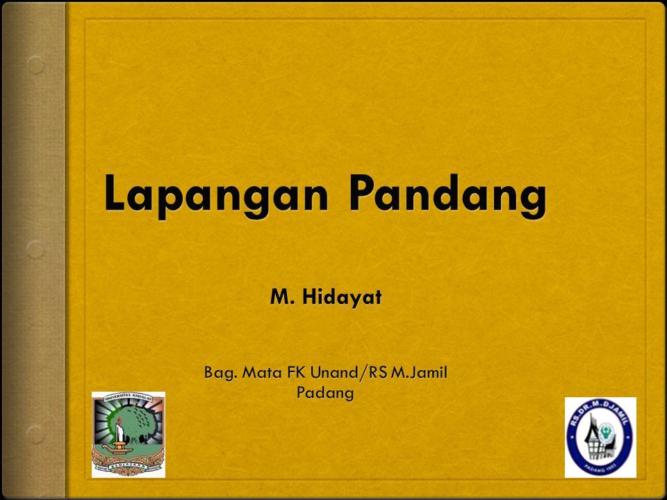 Lapangan Pandang M. Hidayat Bag. Mata FK Unand/RS M.Jamil Padang