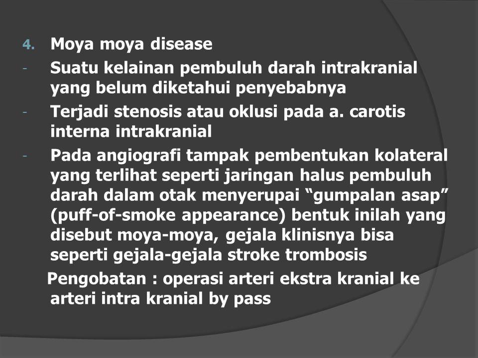Moya moya disease Suatu kelainan pembuluh darah intrakranial yang belum diketahui penyebabnya.