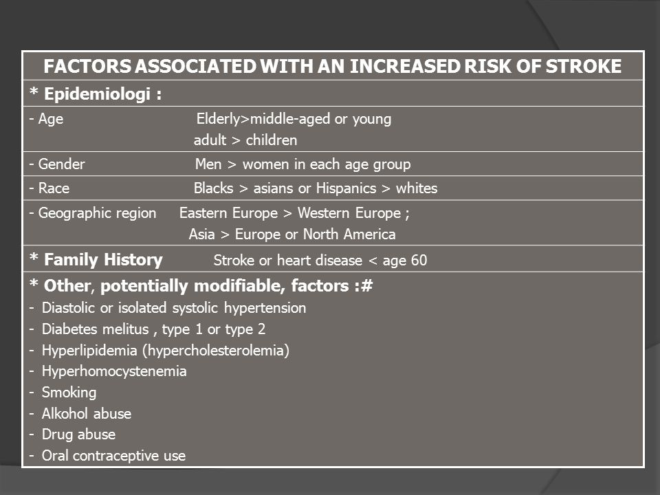 FACTORS ASSOCIATED WITH AN INCREASED RISK OF STROKE