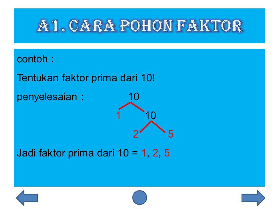 a1. Cara Pohon Faktor contoh : Tentukan faktor prima dari 10.