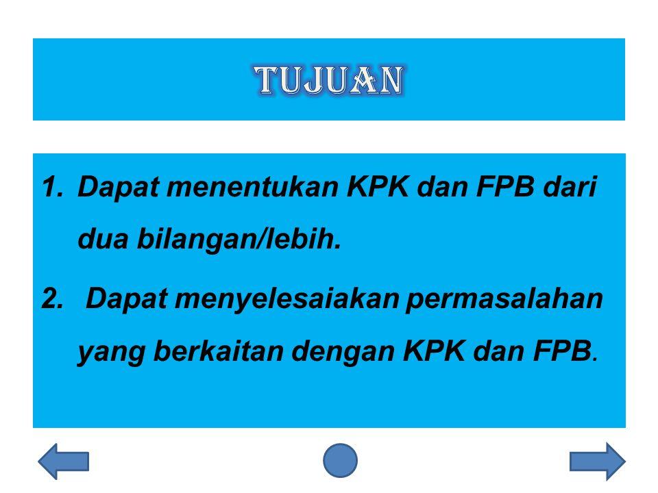 tujuan Dapat menentukan KPK dan FPB dari dua bilangan/lebih.
