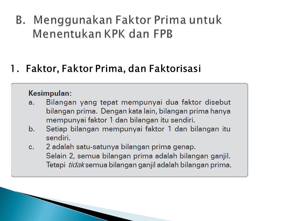 B. Menggunakan Faktor Prima untuk Menentukan KPK dan FPB