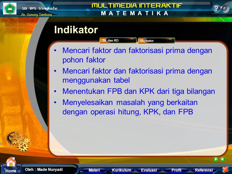 Indikator Mencari faktor dan faktorisasi prima dengan pohon faktor