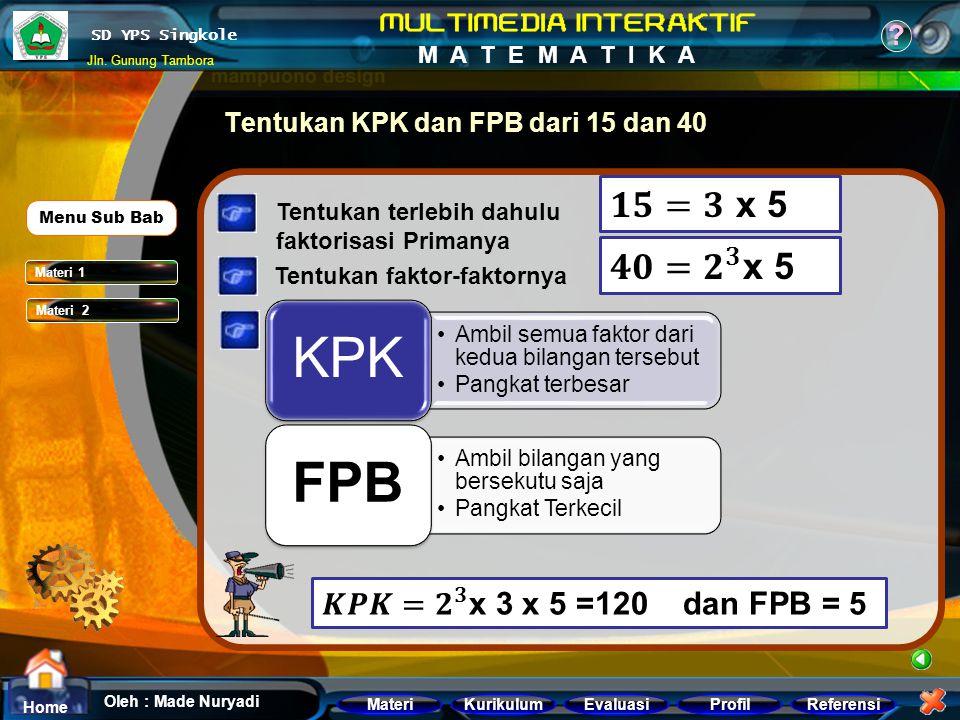 Tentukan KPK dan FPB dari 15 dan 40