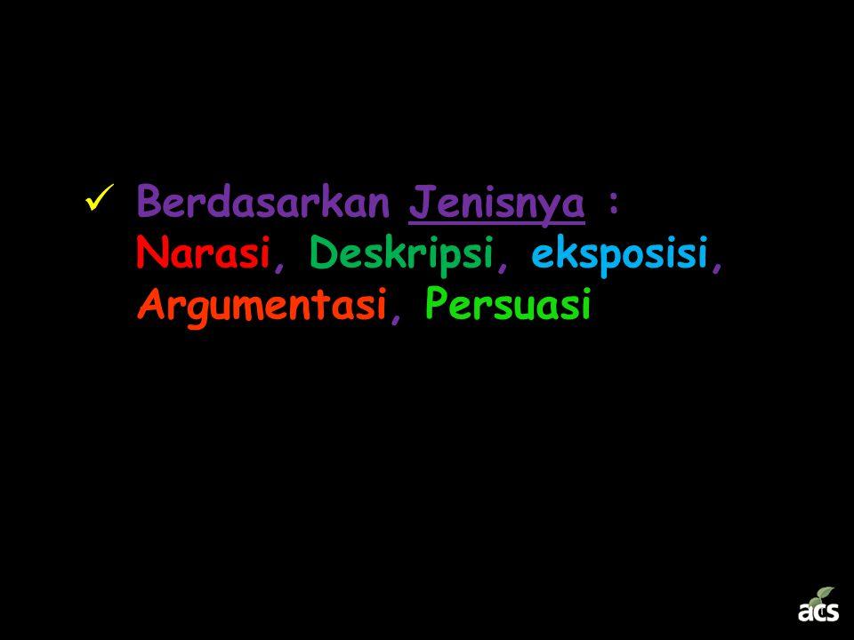 Berdasarkan Jenisnya : Narasi, Deskripsi, eksposisi, Argumentasi, Persuasi
