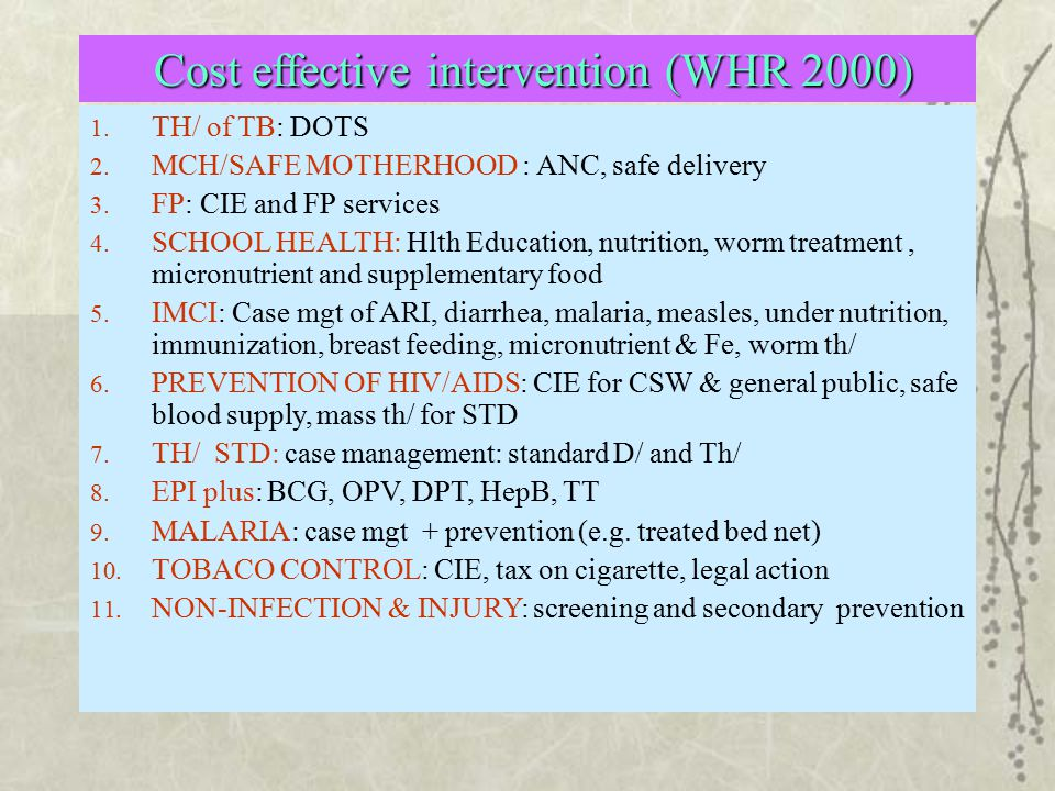 Cost effective intervention (WHR 2000)