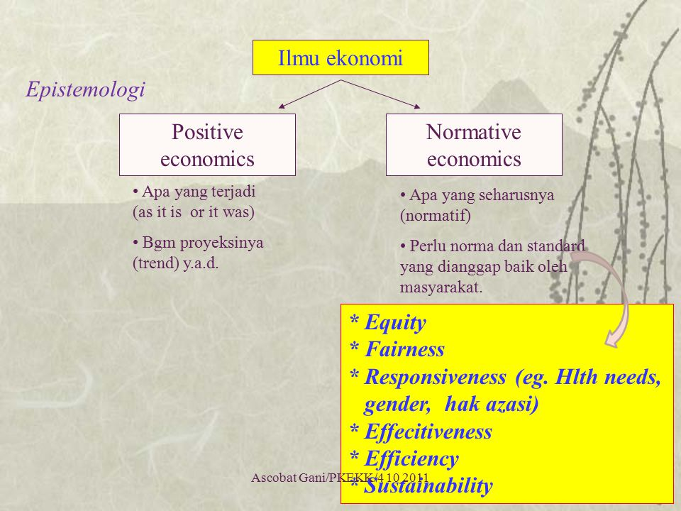 * Equity * Fairness * Responsiveness (eg. Hlth needs,