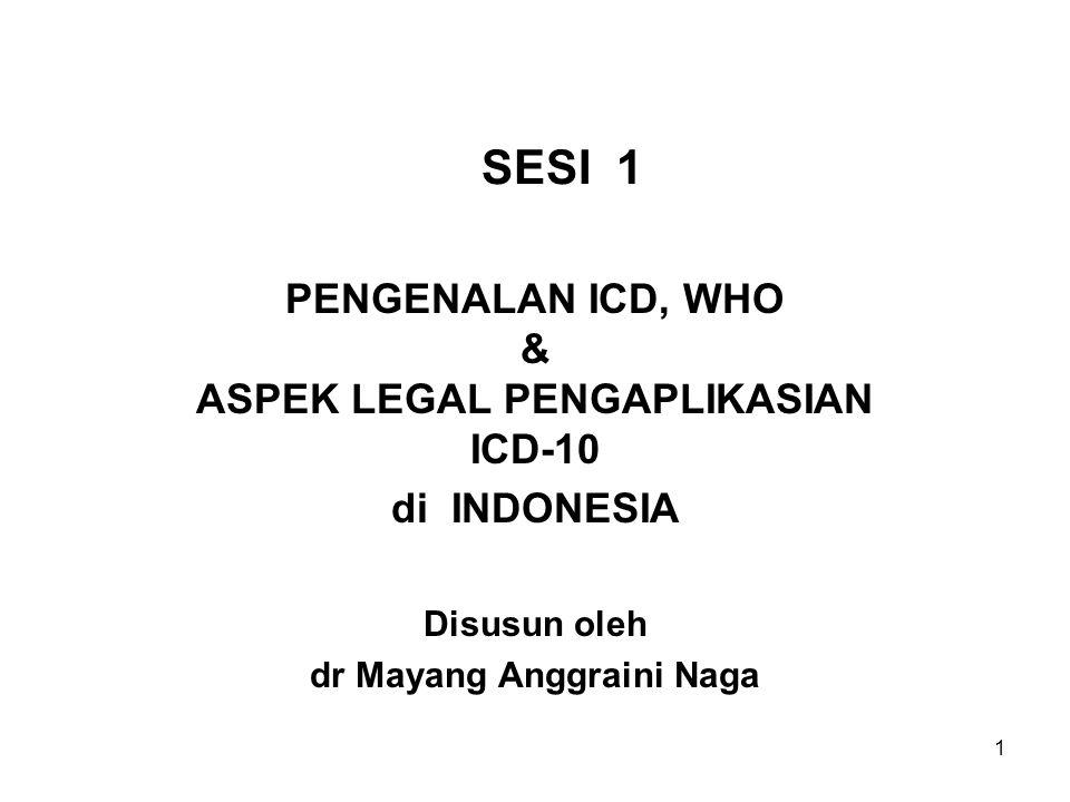 SESI 1 PENGENALAN ICD, WHO & ASPEK LEGAL PENGAPLIKASIAN ICD-10