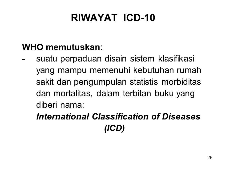 RIWAYAT ICD-10 WHO memutuskan: