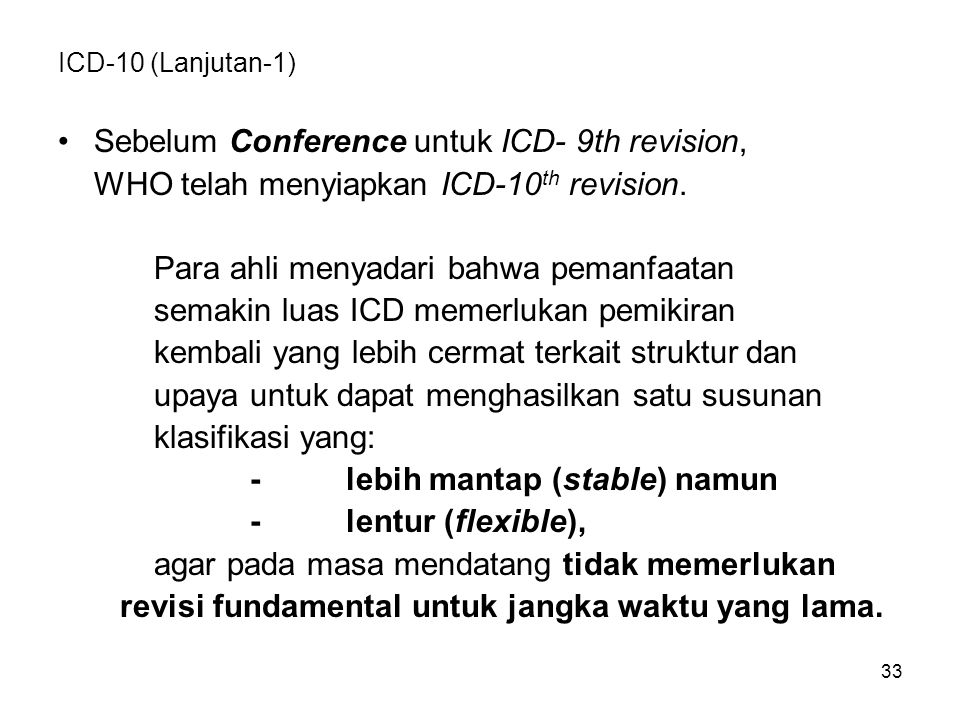 Sebelum Conference untuk ICD- 9th revision,