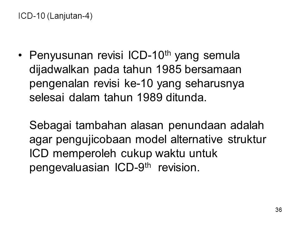 Penyusunan revisi ICD-10th yang semula