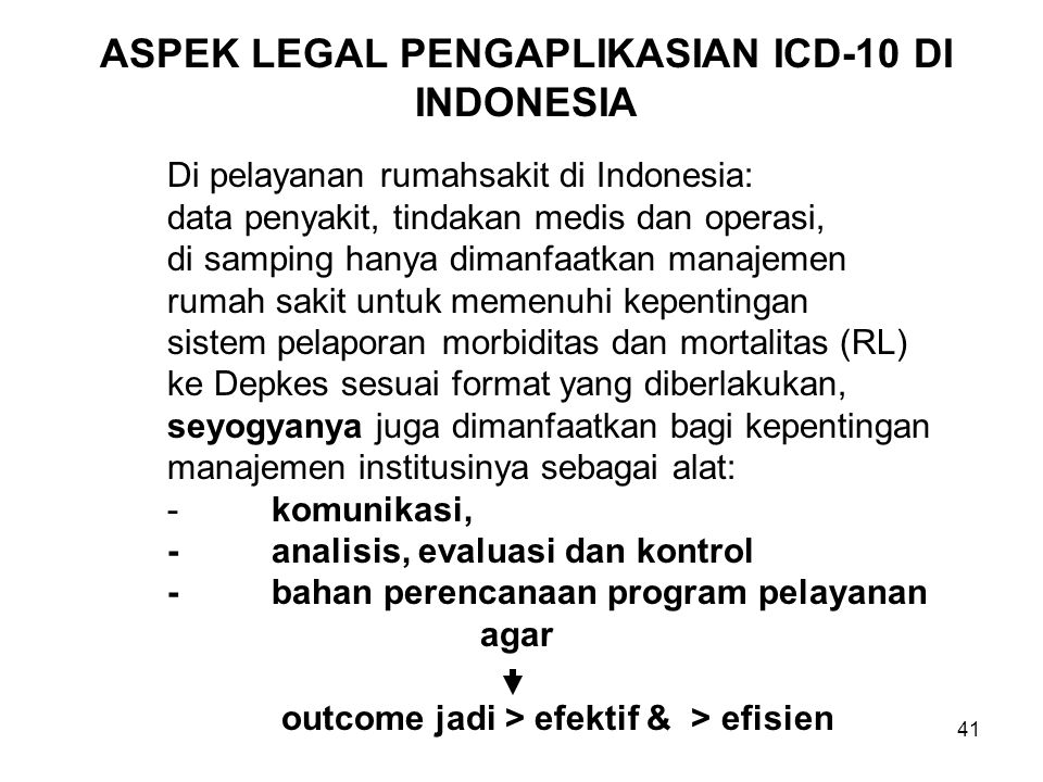 ASPEK LEGAL PENGAPLIKASIAN ICD-10 DI INDONESIA