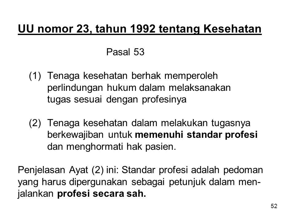 UU nomor 23, tahun 1992 tentang Kesehatan
