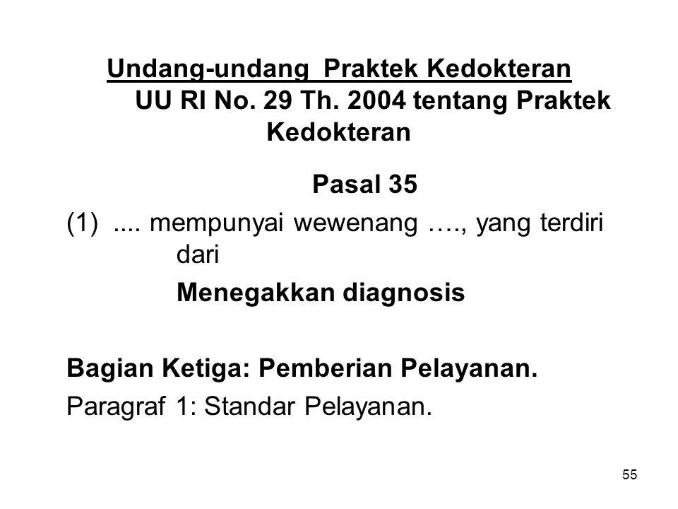 Undang-undang Praktek Kedokteran. UU RI No. 29 Th