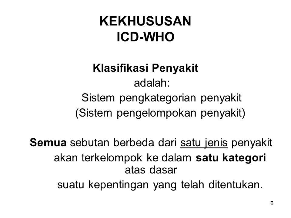 KEKHUSUSAN ICD-WHO Klasifikasi Penyakit adalah: