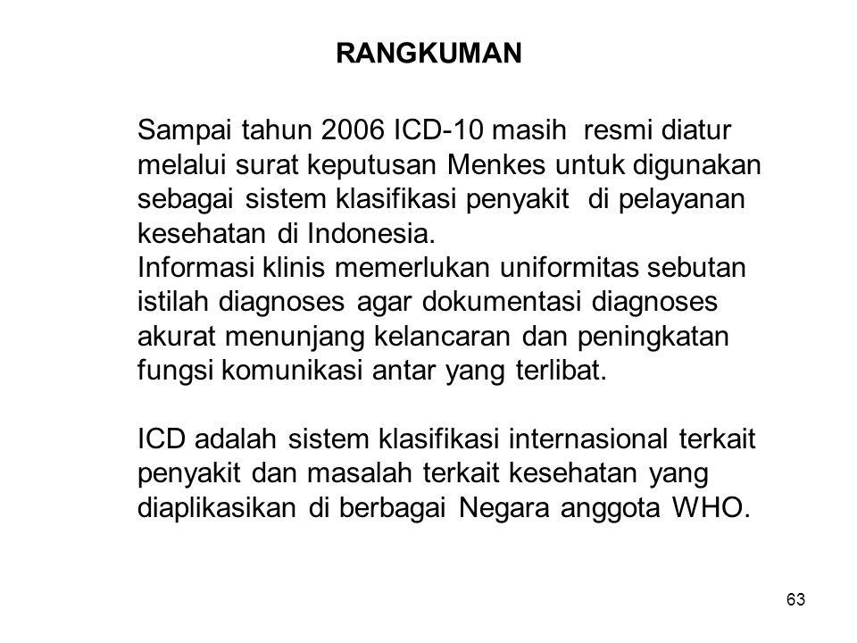 RANGKUMAN Sampai tahun 2006 ICD-10 masih resmi diatur. melalui surat keputusan Menkes untuk digunakan.