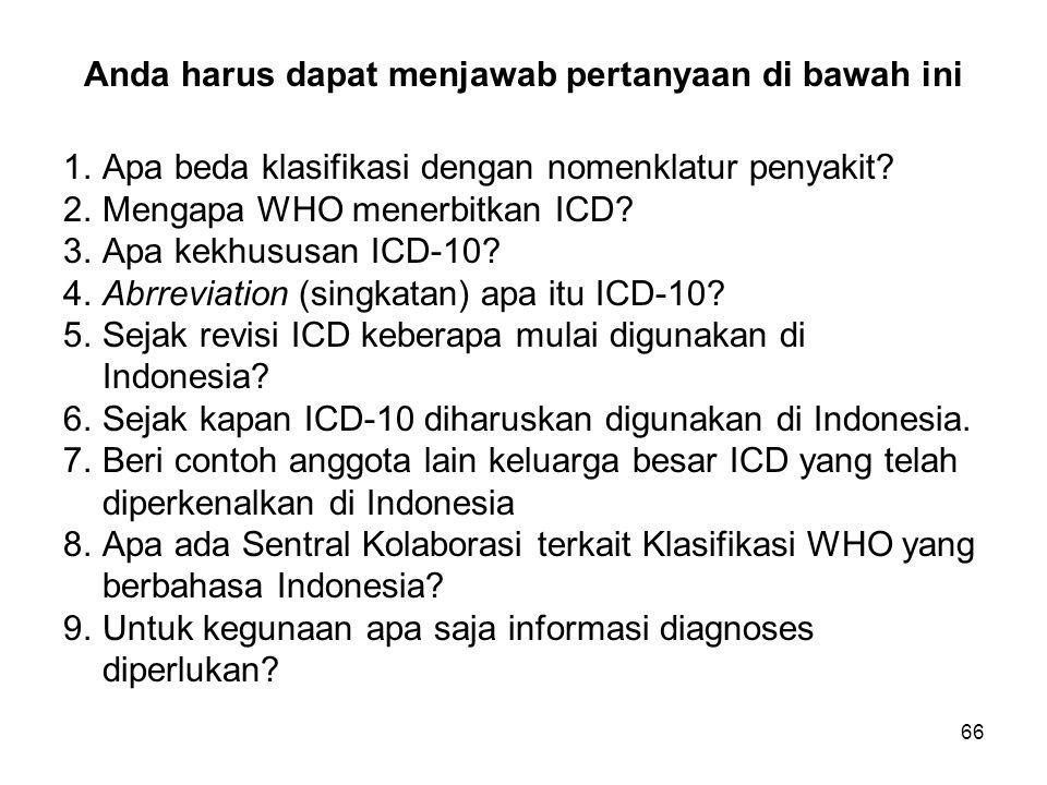 Anda harus dapat menjawab pertanyaan di bawah ini