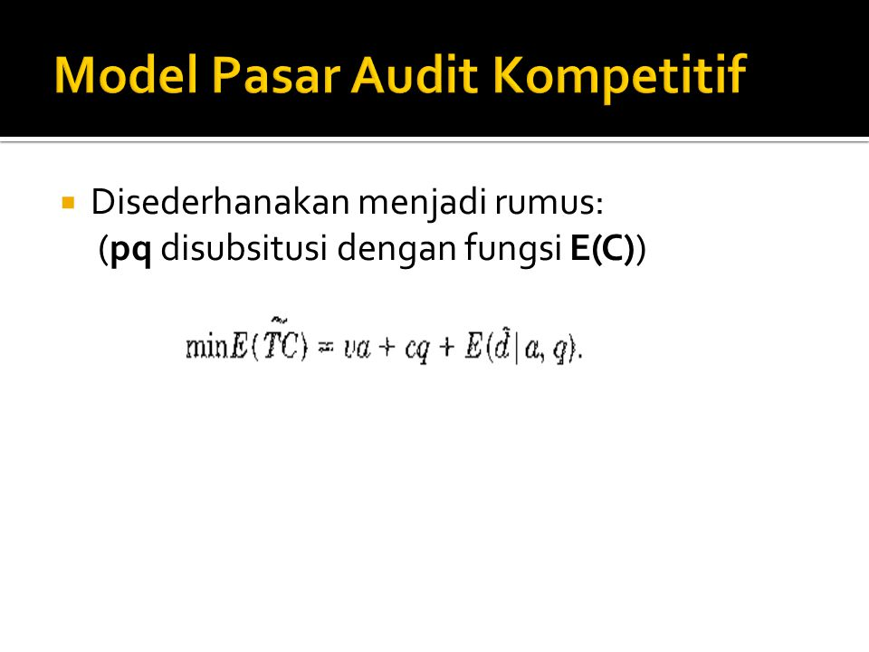 Model Pasar Audit Kompetitif