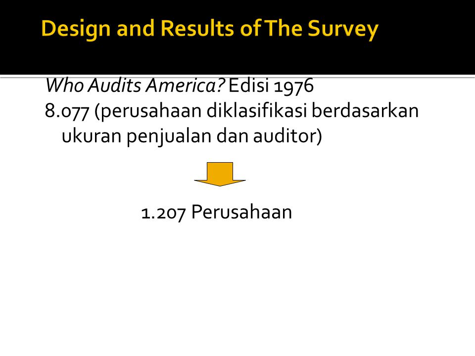 Design and Results of The Survey
