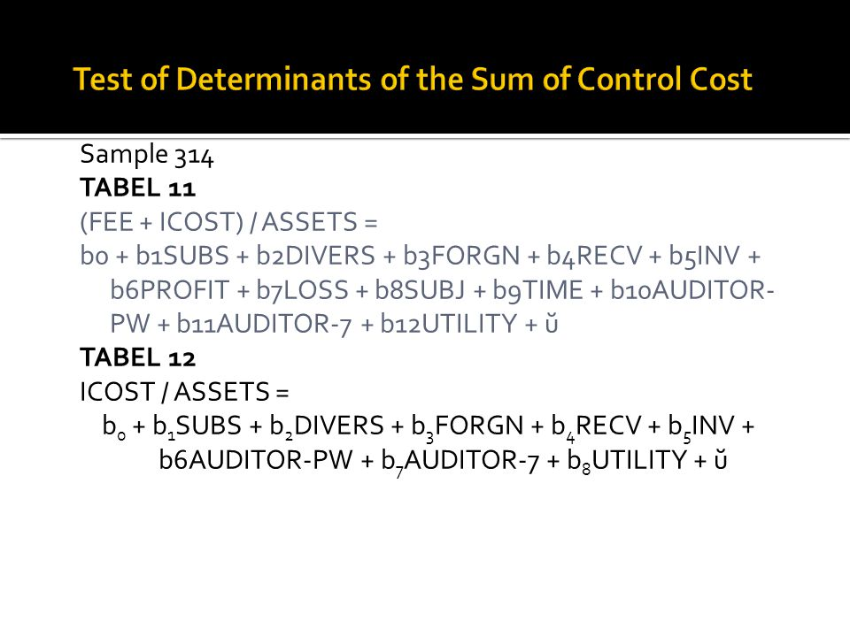 Test of Determinants of the Sum of Control Cost