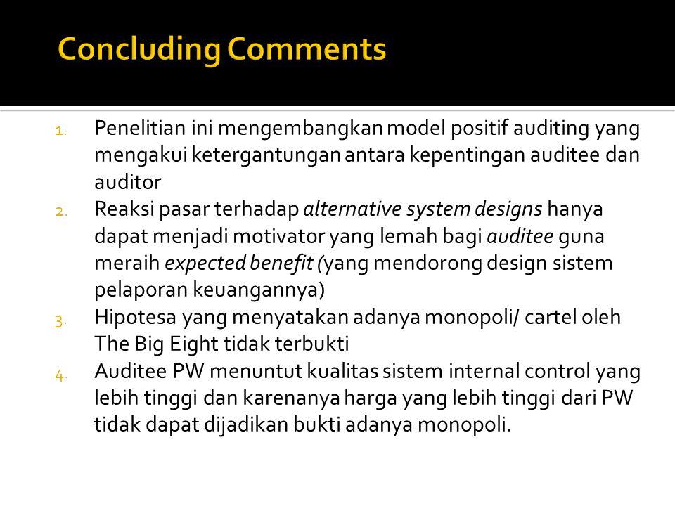 Concluding Comments Penelitian ini mengembangkan model positif auditing yang mengakui ketergantungan antara kepentingan auditee dan auditor.