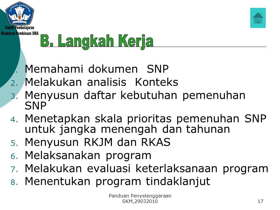 Direktorat Pembinaan SMA B. Langkah Kerja