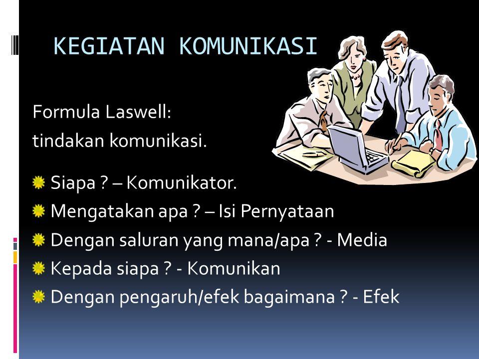 KEGIATAN KOMUNIKASI Formula Laswell: tindakan komunikasi.