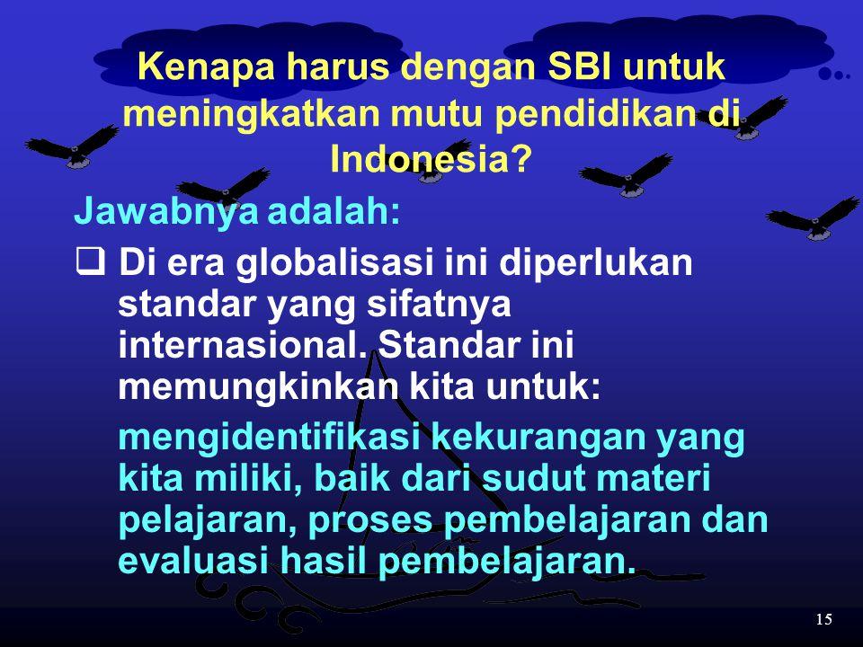 Kenapa harus dengan SBI untuk meningkatkan mutu pendidikan di Indonesia