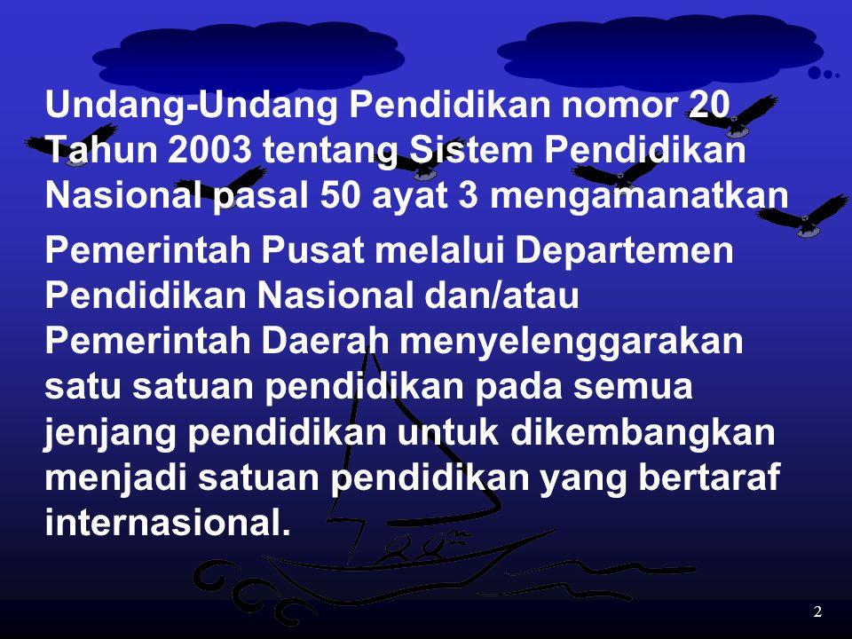 Undang-Undang Pendidikan nomor 20 Tahun 2003 tentang Sistem Pendidikan Nasional pasal 50 ayat 3 mengamanatkan