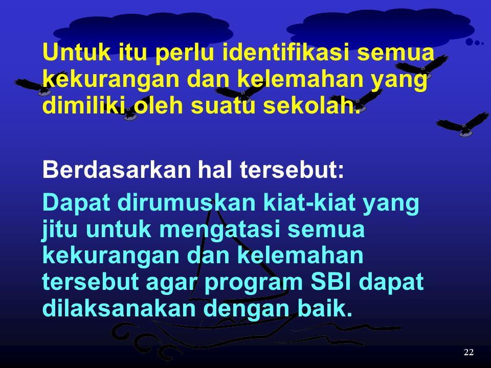 Untuk itu perlu identifikasi semua kekurangan dan kelemahan yang dimiliki oleh suatu sekolah.