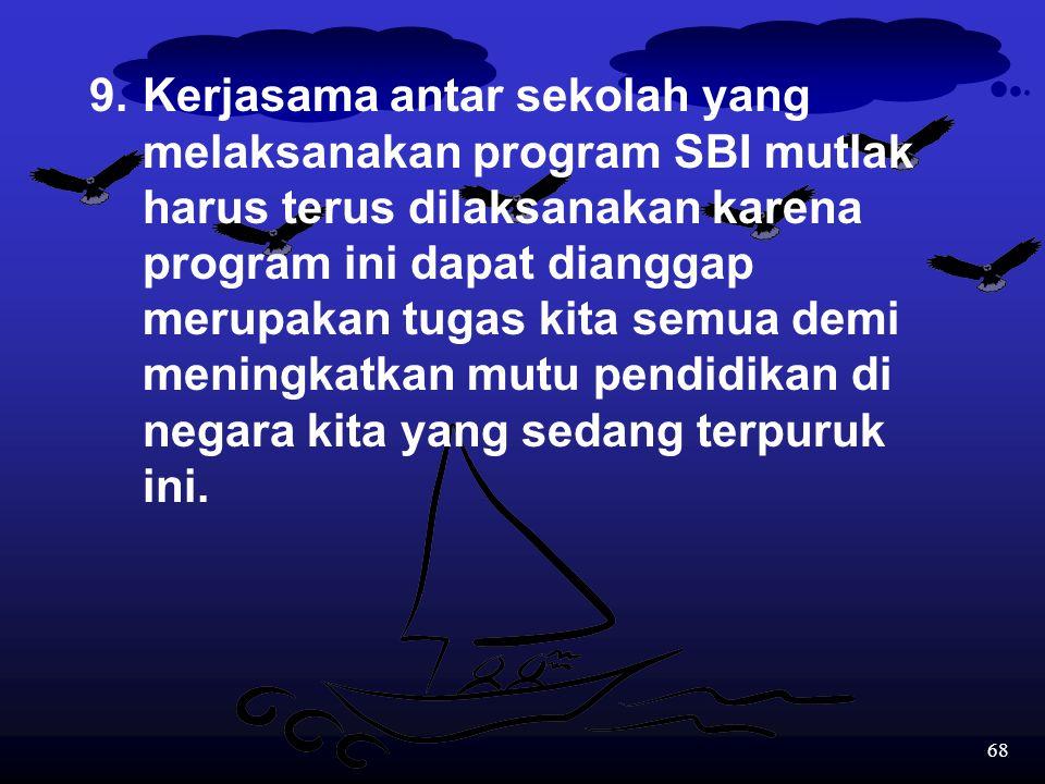 9. Kerjasama antar sekolah yang. melaksanakan program SBI mutlak