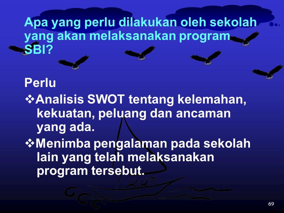 Apa yang perlu dilakukan oleh sekolah yang akan melaksanakan program SBI