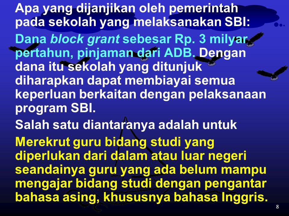 Apa yang dijanjikan oleh pemerintah pada sekolah yang melaksanakan SBI: