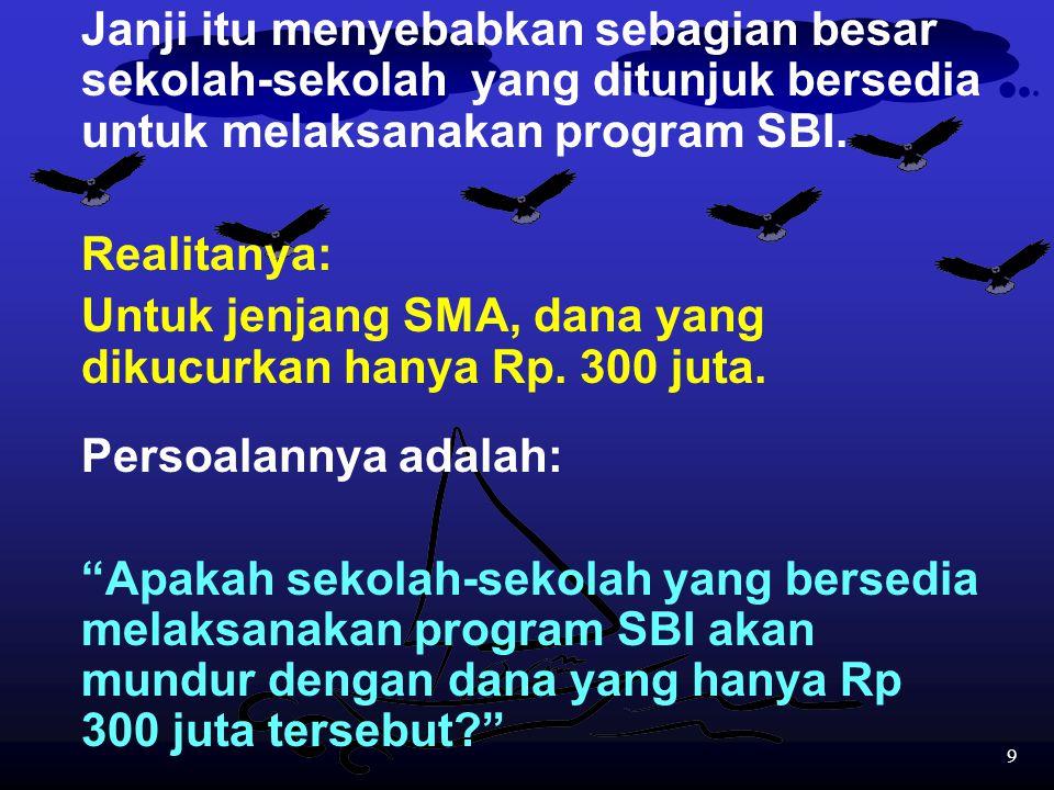 Janji itu menyebabkan sebagian besar sekolah-sekolah yang ditunjuk bersedia untuk melaksanakan program SBI.