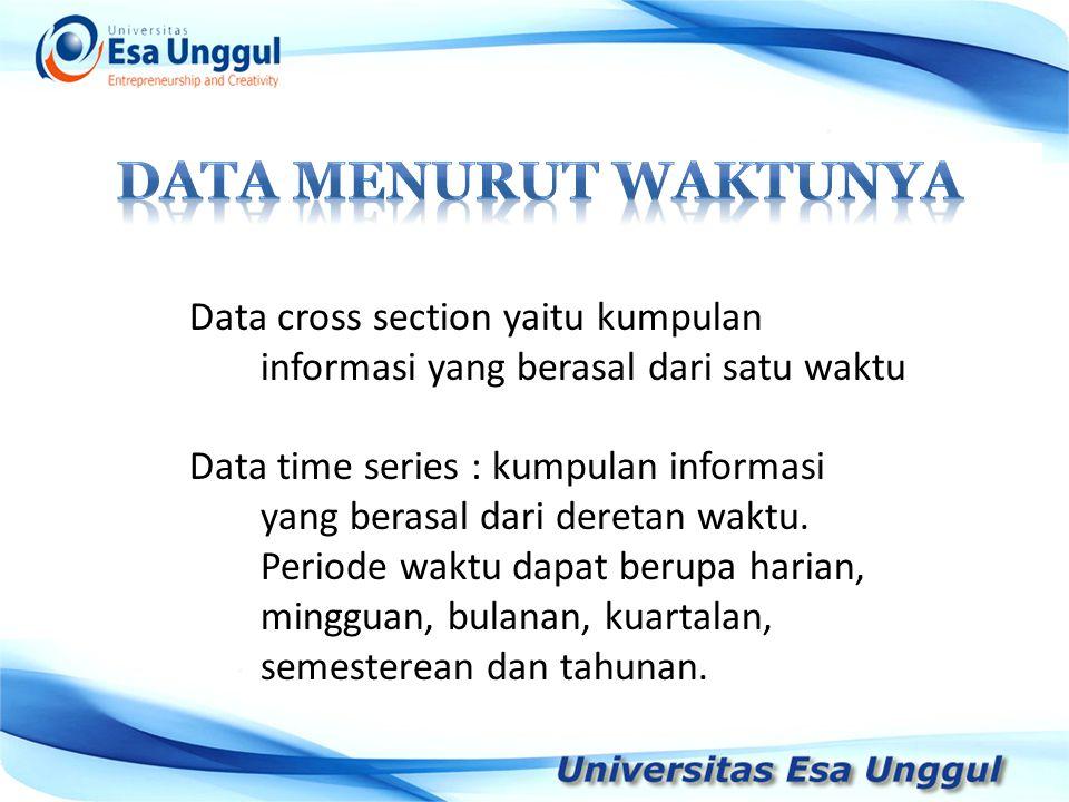 Data MENURUT WAKTUNYA Data cross section yaitu kumpulan informasi yang berasal dari satu waktu.