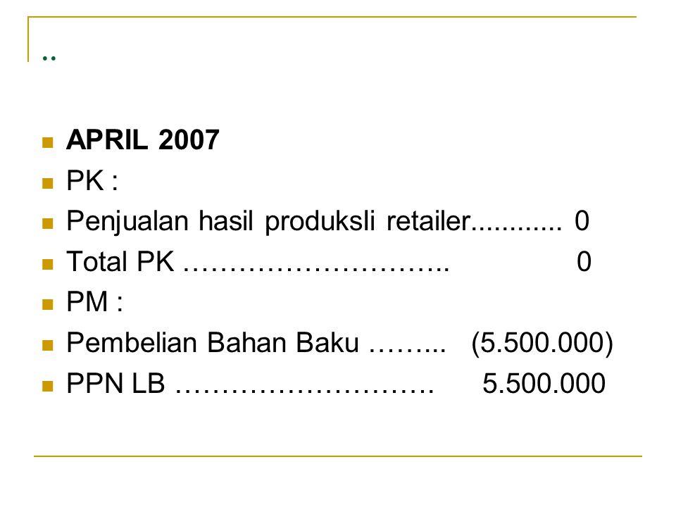 .. APRIL 2007 PK : Penjualan hasil produksIi retailer............ 0