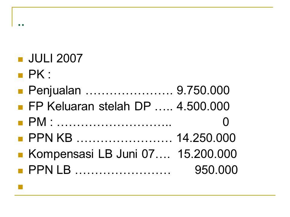 .. JULI 2007 PK : Penjualan …………………. 9.750.000