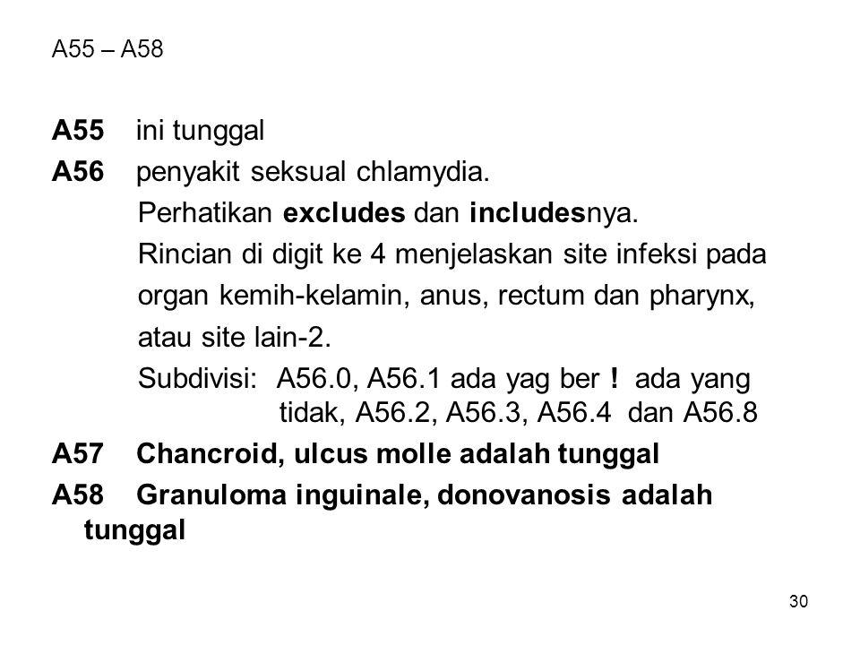A56 penyakit seksual chlamydia. Perhatikan excludes dan includesnya.